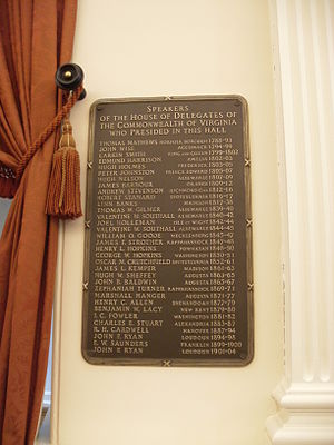 Henry L. Hopkins - Image: Virginia State Capitol complex list of former Speakers of the House of Delegates