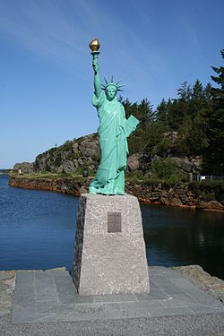 View of the Statue of Liberty replica in Visnes