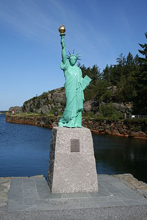 Visnes, Rogaland - View of the Statue of Liberty replica in Visnes