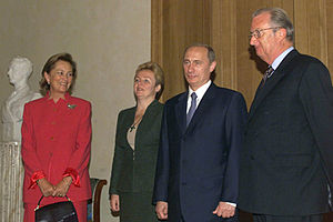 Belgium–Russia relations - President Vladimir Putin with former King Albert II, and spouses, whilst on a state visit in Brussels in October 2001.