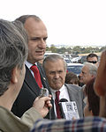 Vlado Bučkovski and Donald Rumsfeld speak to the press following their meeting in the Pentagon on Oct. 26, 2005.jpg