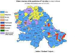 Ethnic map of Vojvodina based on the 2002 settlement data