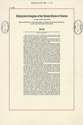 Eerste pagina van de Voting Rights Act.