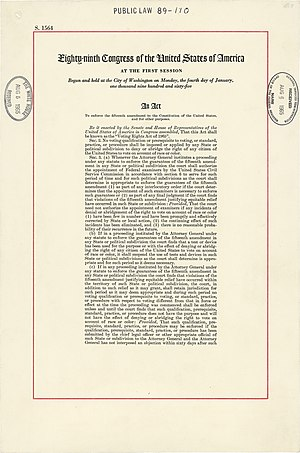 89th United States Congress - The first page of the Voting Rights Act.