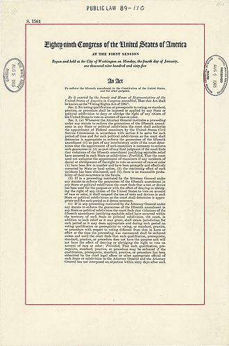 Voting Rights Act of 1965 - The first page of the Voting Rights Act of 1965