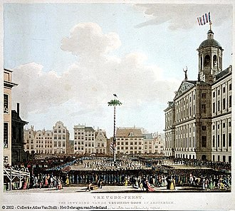 Batavian Revolution - Erection of a liberty tree on Dam Square in Amsterdam after the proclamation of the republic.