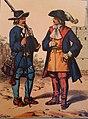 W Schaefer Kurfürst Georg Wilhelms Leibgarde genannt Blauröcke um 1632 links Musketier rechts Reiteroffizier.jpg