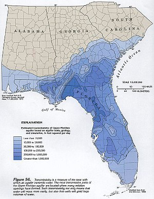Wakulla Springs - Map shows transmissivity values of Floridan Aquifer as it exits at Wakulla Springs.