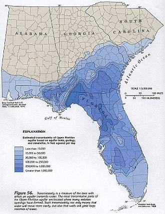 Wakulla Springs - Map shows transmissivity values of Floridan Aquifer as it exits at Wakulla Springs.