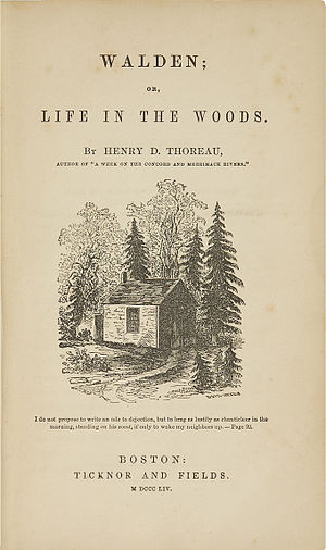 Walden - Original title page of Walden featuring a picture drawn by Thoreau's sister Sophia.