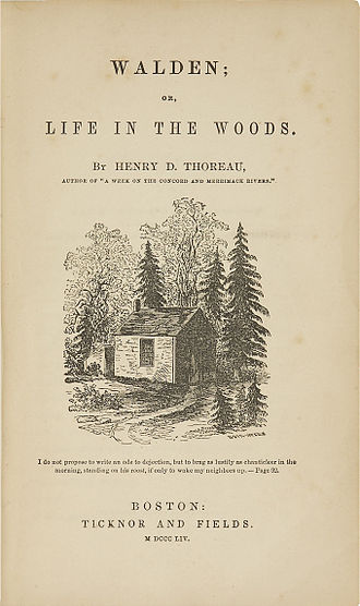 Henry David Thoreau - Original title page of Walden, with an illustration from a drawing by Thoreau's sister Sophia