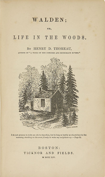 Original title page of Walden, with an illustration from a drawing by Thoreau's sister Sophia Walden Thoreau.jpg