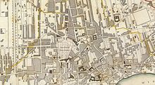 Part of a 19th century city plan showing the city centre of Warsaw.