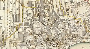 Warsaw Uprising (1794) - Centre of Warsaw as seen on an 1831 map