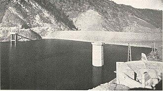 Watauga Dam - Watauga Dam, (from upstream), circa 1950.
