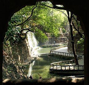 Wonderful Waterfall And Path At Rock Garden, Chandigarh