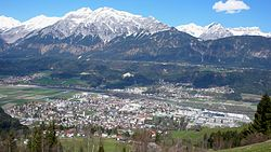 View over Wattens and the Inn Valley to the Karwendel mountains