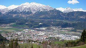 Wattens - View over Wattens and the Inn Valley to the Karwendel mountains