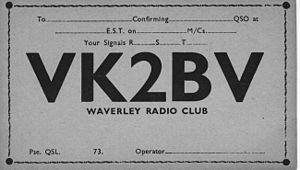 Waverley Amateur Radio Society - Waverley Amateur Radio Society QSL Card 1929