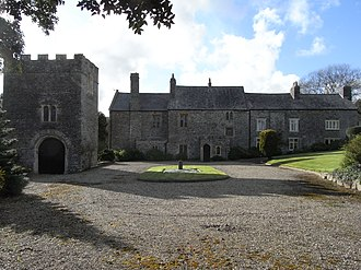 Weare Giffard - Weare Giffard Hall, manor house of Weare Giffard, North Devon. Viewed from the east at formal entrance gates