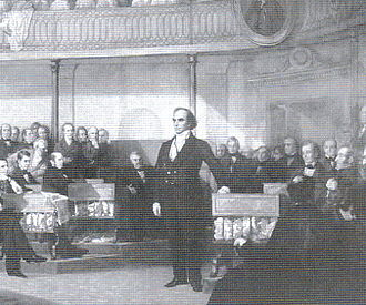 University of New Hampshire School of Law - Webster Replying to Hayne by George P.A. Healy. The honors program is named for Daniel Webster.