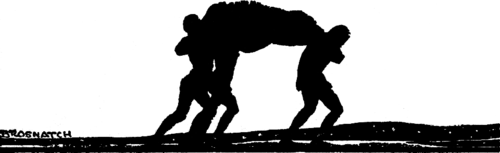 Silhouette of three men carrying a heavy bundle