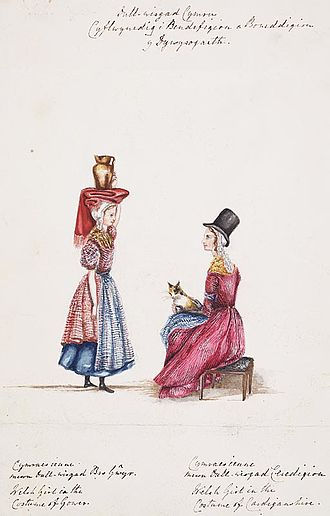 Traditional Welsh costume - A study of the Welsh costume in parts of Gower (left) and Cardiganshire (right)