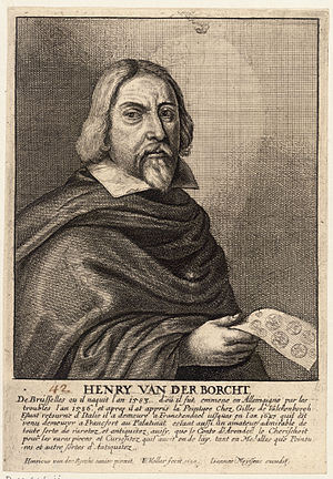 Hendrik van der Borcht the elder - Etching by Wenceslaus Hollar in Het Gulden Cabinet, p 127