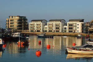 West Bay, Dorset - The new Quay West development on the west side of the harbour