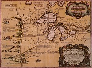 Coureur des bois - Map of Great Lakes Region of New France, 1688 (by Vincenzo Coronelli 1650–1718)