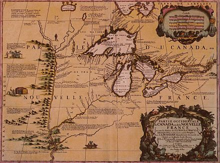 A map of western New France, including the Illinois Country, by Vincenzo Coronelli, 1688 Western New France, 1688.jpg