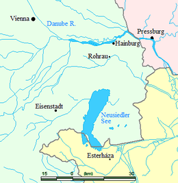 Map showing locations where Haydn lived or visited (Source: Wikimedia)