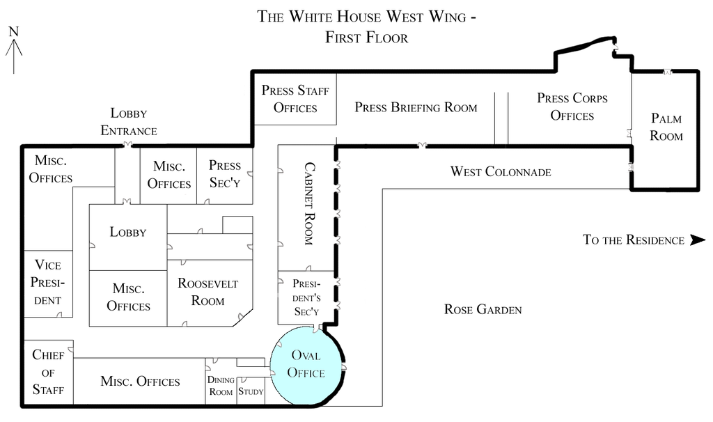 File White House West Wing   1st Floor with the Oval Office highlighted on home window parts diagram