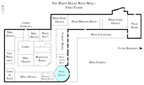 Location of the Oval Office in the West Wing. White House West Wing - 1st Floor with the Oval Office highlighted.png