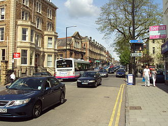 Whiteladies Road - Typical traffic and buildings along Whiteladies Road