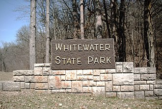 Whitewater State Park - Sign at the south entrance to the park