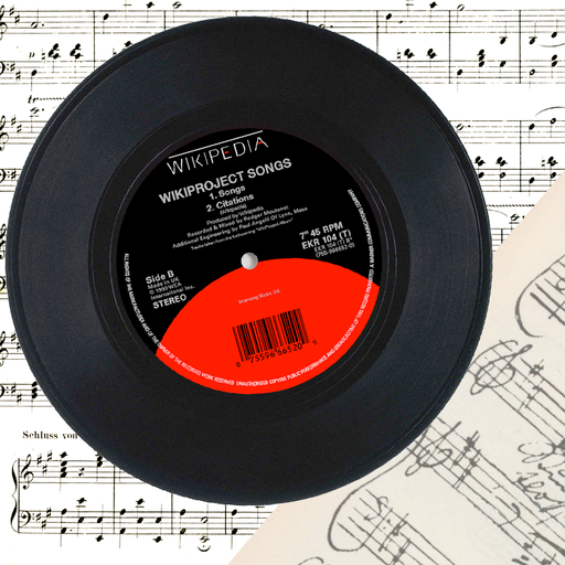 "WikiProject Songs 7"" record on sheet music"