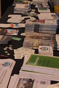 Wikimania 2014 Wikimedia UK stall (2) Community Village stall.JPG