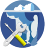Crossed spanner and screwdriver overlaid on the standard Wikisource iceberg logo