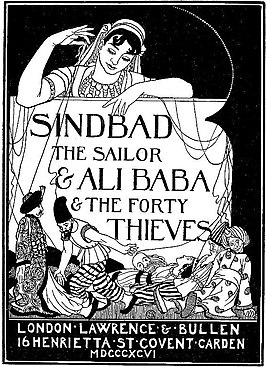Engelse titelpagina van Sinbad en Ali Baba uit 1896 door William Strang