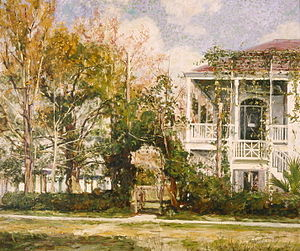 William Woodward (artist) - William Woodward painting of a house in the Carrollton section of New Orleans, 1899.
