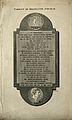 William Hawes' memorial tablet. Line engraving by J. Basire. Wellcome V0002629.jpg