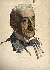 Portraitstudie Prof. Emil Warburg, Physiker. Entwurf zu dem verschollenen Gemälde \