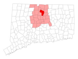 National Register of Historic Places listings in Windsor, Connecticut - Location of Windsor in Connecticut