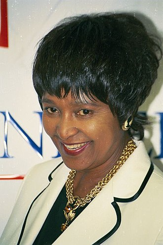 Nelson Mandela's second wife, Winnie (pictured), related that despite rumours of discord between them, she had a good relationship with Mase Winnie Mandela.jpg