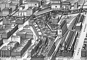 Kinzie Street railroad bridge - Bird's-eye view of Wolf Point viewed from the east as it appeared in 1893. The 1879–1898 swing bridge is visible in the top right of the drawing.
