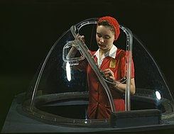Woman worker in the Douglas Aircraft Company plant1942.jpg