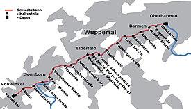 Strecke der Wuppertaler Schwebebahn