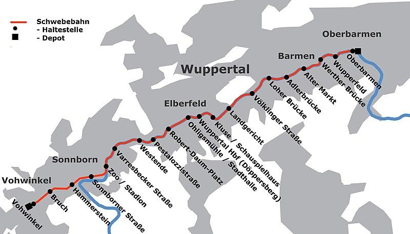 Mapa del Schwebebahn de wikipedia