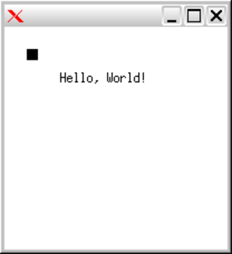 Xlib - Simple Xlib application drawing a box and text in a window. With IceWM window manager decorations.